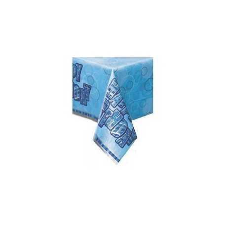Nappe en Plastique Anniversaire Bleu