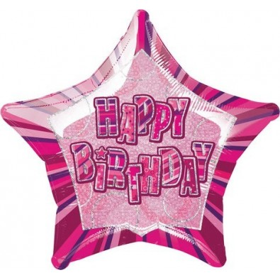 Ballon Etoile Rose Happy Birthday