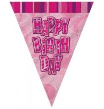 Banderole à Fanions Anniversaire rose et argent