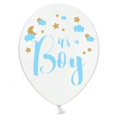 Ballons Latex It's a boy Bleu Blanc Doré