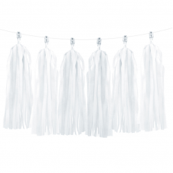 12 Tassels Pompons Blancs en papier de soie
