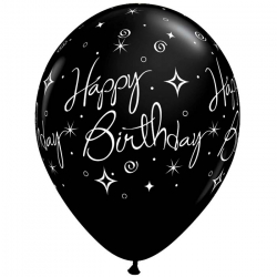 6 Ballons Anniversaire Latex Noir Fête - Happy birthday
