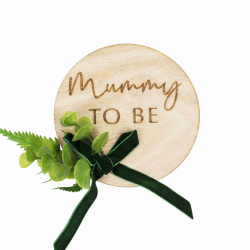 Cocarde Badge Future Maman Baby Shower Eucalyptus