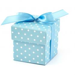 10 Boîtes à Dragées Carton Pois Bleu Clair Ruban Bleu Satin