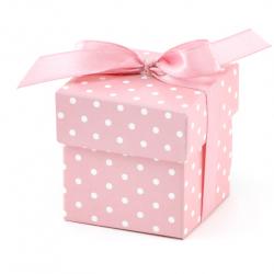 10 Boîtes Cadeaux Invités à Dragées Carton Pois Rose Clair et Blanc Cadeau invité