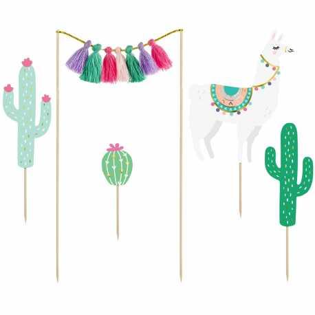 5 Piques Gâteau avec Pompons thème Lama et Cactus - Anniversaire pour enfant