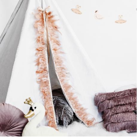 Guirlande de plumes roses poudré - Décoration Cygne et Ange
