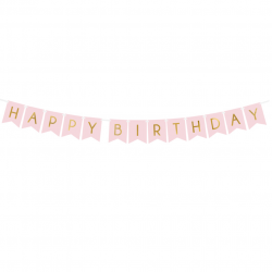 Banderole Fanions Happy Birthday - Rose Pastel et Doré Anniversaire