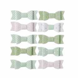 10 Petits Noeuds Autocollants Vert Pastel et Blanc