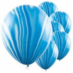 6 Ballons effet marbré bleu - Décoration de fête