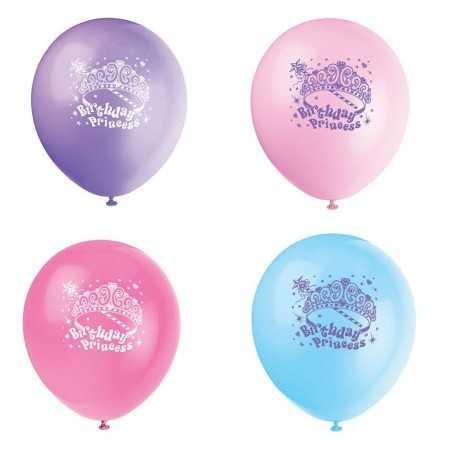 8 Ballons latex Princess Birthday