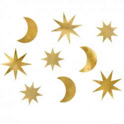9 Décorations Etoiles et Lunes Dorées