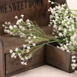 Six branches de gypsophiles blancs Fleurs Artificielles Premium