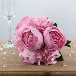 Gros bouquet de fleurs artificielles roses