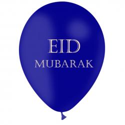 Ballon Eid Mubarak Latex Noir et Doré - Décoration de fête de l'eid