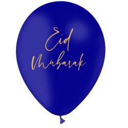 Ballon Eid Mubarak Latex Bleu nuit et Doré - Décoration de fête de l'eid