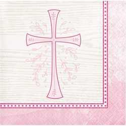 Serviettes Cocktail Roses en Papier Croix Baptême et Communion Fille