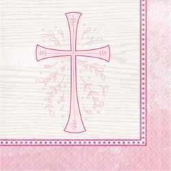 Grandes Serviettes Roses en Papier Croix Baptême et Communion Fille