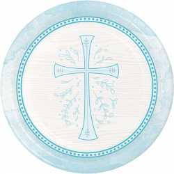 18 Assiettes Jetables Baptême Bleu Clair et Croix