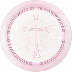 Verres Jetables roses Baptême Communion Croix
