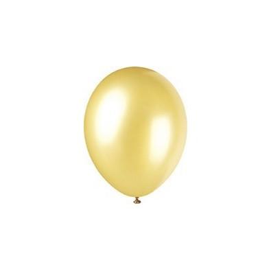 10 Ballons Gonflables Latex Doré Fête