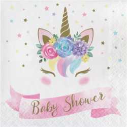 Serviettes en papier Baby Shower Licorne Pastel