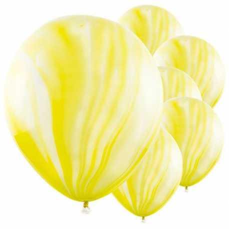 6 Ballons latex effet marbré jaune et blanc - Décoration de fête