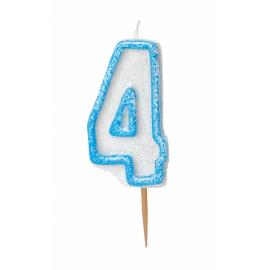 Bougie Chiffre Bleu Pailleté 4 Quatre