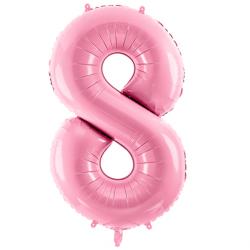 Ballon Chiffre 8 ans Rose Pastel - Huitième anniversaire fille