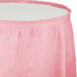 Jupe de Table Plastique Rose Pastel Lavable