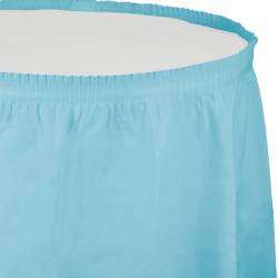 Jupe de Table Plastique Bleu Pastel Lavable