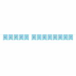 Grande Banderole Happy Birthday Bleu Poudré & Argent - Anniversaire Party