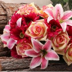 Gros bouquet de fleurs artificielles roses et lys - Décoration de fête