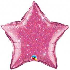 Ballon Etoile Rose Holographique