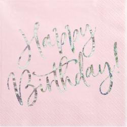 Grandes Serviettes Happy Birthday Rose Poudré glitter argent