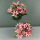 Gros bouquet de fleurs artificielles roses mélange- Décoration de fête