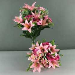 Gros bouquet de fleurs artificielles roses mélange fleurs et feuillage - Décoration de fête