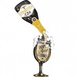 Ballon XXL 177cm Bouteille de Champagne et Verre Pop Fizz Clink