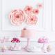 5 Fleurs en papier rose poudré premium - Décoration
