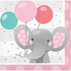 Serviettes en Papier Elephant Rose Pastel