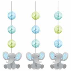 Banderole Hapy Birthday Eléphant Bleu Pastel et Ballons