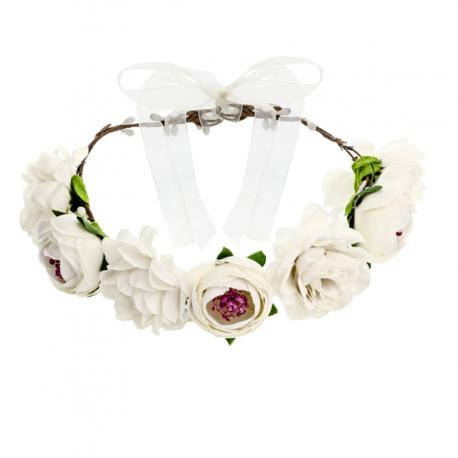 Couronne de fleurs blanches - Accessoire cheveux fille