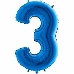 Ballon Géant Alu Bleu Trois 3 Ans Fête d'Anniversaire enfant