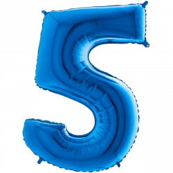 Ballon Géant Alu Bleu Cinq 5 Ans Fête d'Anniversaire enfant