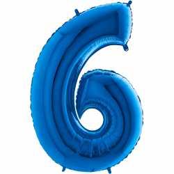 Ballon Géant Alu Bleu 6 six Ans Fête d'Anniversaire enfant