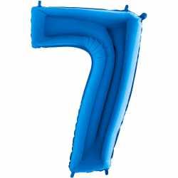 Ballon Géant Alu Bleu 7 Sept Ans Fête d'Anniversaire enfant