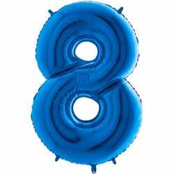 Ballon Géant Alu Bleu 8 Huit Ans Fête d'Anniversaire enfant
