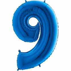 Ballon Géant Alu Bleu 9 Neuf Ans Fête d'Anniversaire enfant