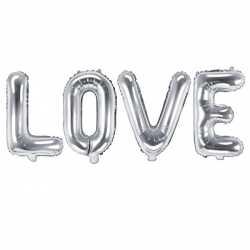 Ballons LOVE Lettres argent - Décoration