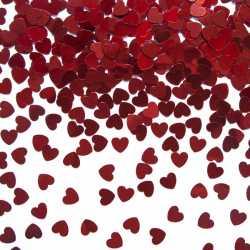 Confettis de table coeur rouge - Décoration anniversaire